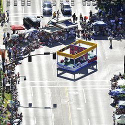 Floats head down the route in the Days of '47 Parade in Salt Lake City Saturday.