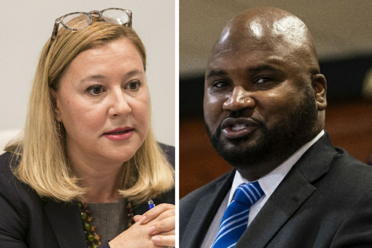 State Rep. Anna Moeller, left, in 2018; State Sen. Elgie Sims, right, last month.