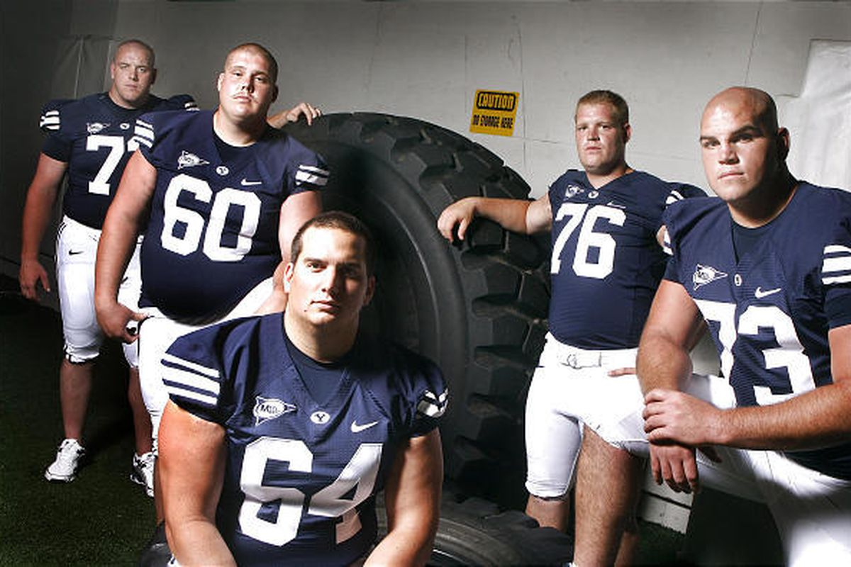 This year's BYU offensive line, seen as they were photographed Aug. 13, from left: Nick Alletto, Terence Brown, R.J. Willing, Braden Hansen and Jason Speredon. Injuries have since plagued the line, with Speredon suffering a season-ending torn rotator cuff