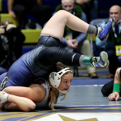 Elizabeth Shunn of Westlake wrestles Alyssa Pace of Copper Hills in class 140 as girls compete for the 6A State Wrestling championship at West Lake High in Saratoga Springs on Monday, Feb. 15, 2021.