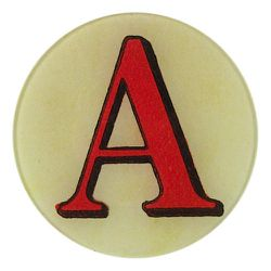 """<strong>John Derian</strong> 5"""" Round Red Letter Plates, <a href=""""http://www.johnderian.com/collections/5-round-plates-red-letters"""">$48</a>"""