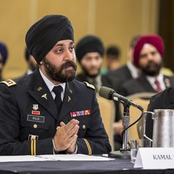 In 2013, Lt. Col. Kamal Singh Kalsi testified before the U.S. Civil Rights Commission on behalf of his fellow Sikh soldiers.
