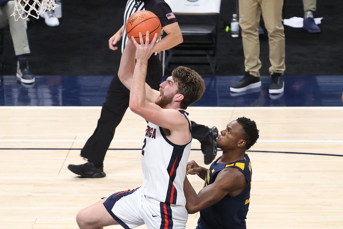 Drew Timme of the Gonzaga Bulldogs shoots the ball against the West Virginia Mountaineers during the Jimmy V Classic at Bankers Life Fieldhouse on December 02, 2020 in Indianapolis, Indiana.