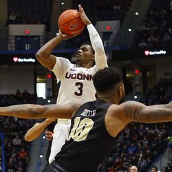 The UCF Knights take on the UConn Huskies in a men's college basketball game at the XL Center in Hartford, CT on January 5, 2019.