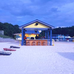 Coming up from the beach, you'll notice a tiny, sand-wrapped bar. It's one of many watering holes on the property.