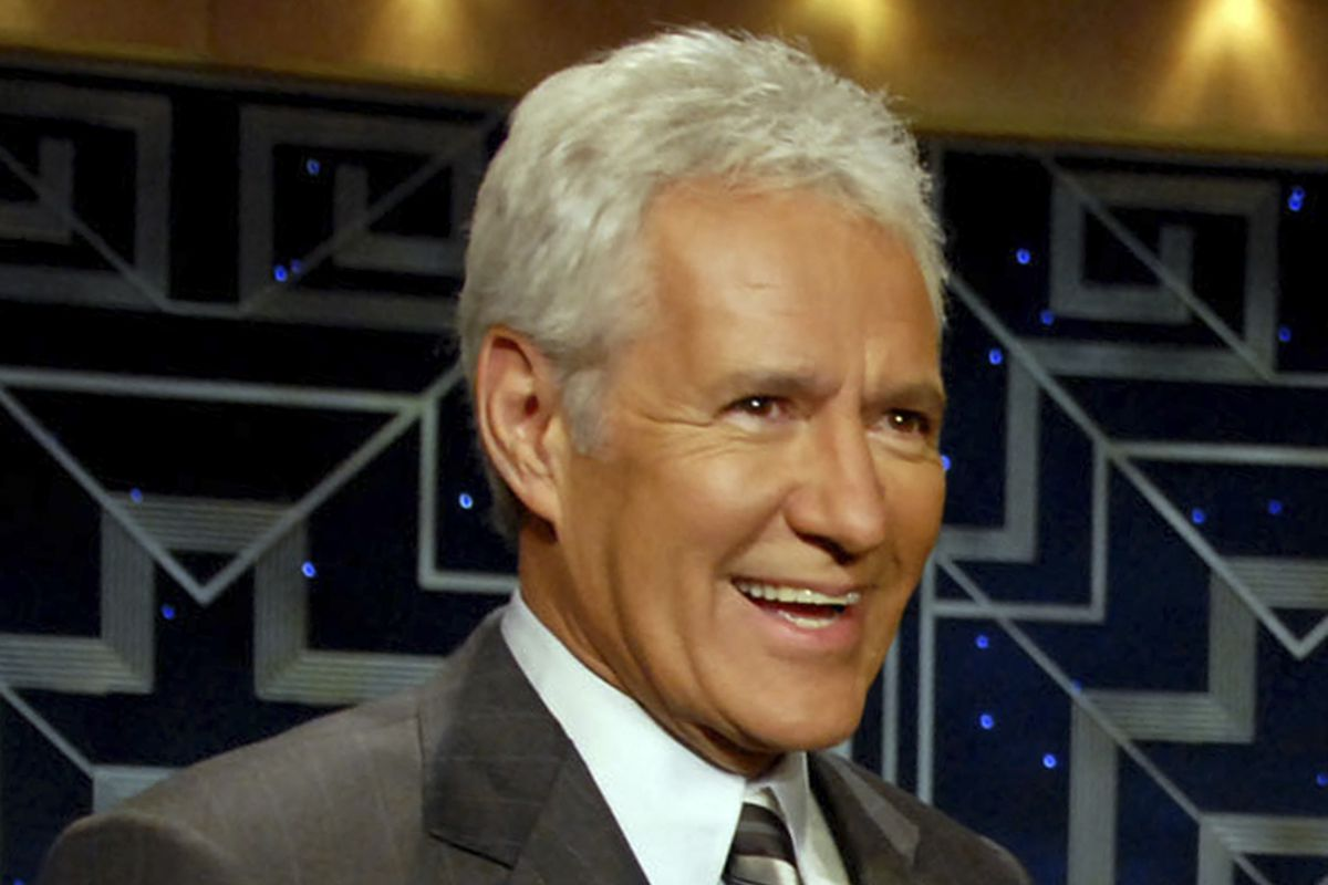 """Show host Alex Trebek talks prior to taking part in a taping of """"Celebrity Jeopardy!"""" to celebrate the 5,000th episode of """"Jeopardy!"""" at Radio City Music Hall, on Oct. 5, 2006, in New York. """"Jeopardy!"""" is honoring the late Trebek by airing special episodes featuring Trebek delivering clues around the world."""