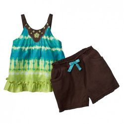 Infant Tie-Dye Tank in Blue/Green and Gauze Shorts in Brown $16.99 for set. Also available in toddler sizing