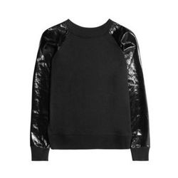 "<a href=""http://www.net-a-porter.com/product/315352"">Jerry PVC-sleeve cotton-jersey sweatshirt by <b>Karl</b></a>, $48 (was $160)"