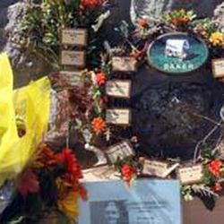 Closeup of a wreath placed during the 150th anniversary of the Mountain Meadows Massacre at the memorial site near Enterprise.