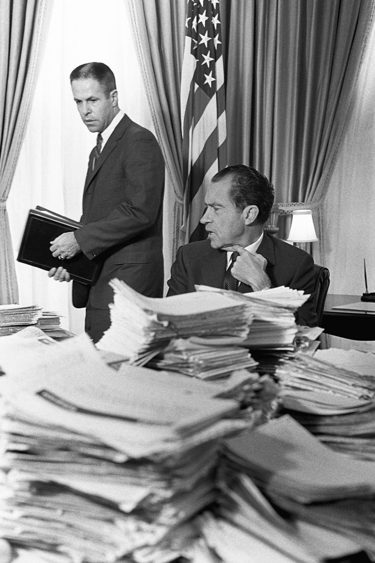 President Richard M. Nixon speaks with his chief of staff, H.R. Haldeman.