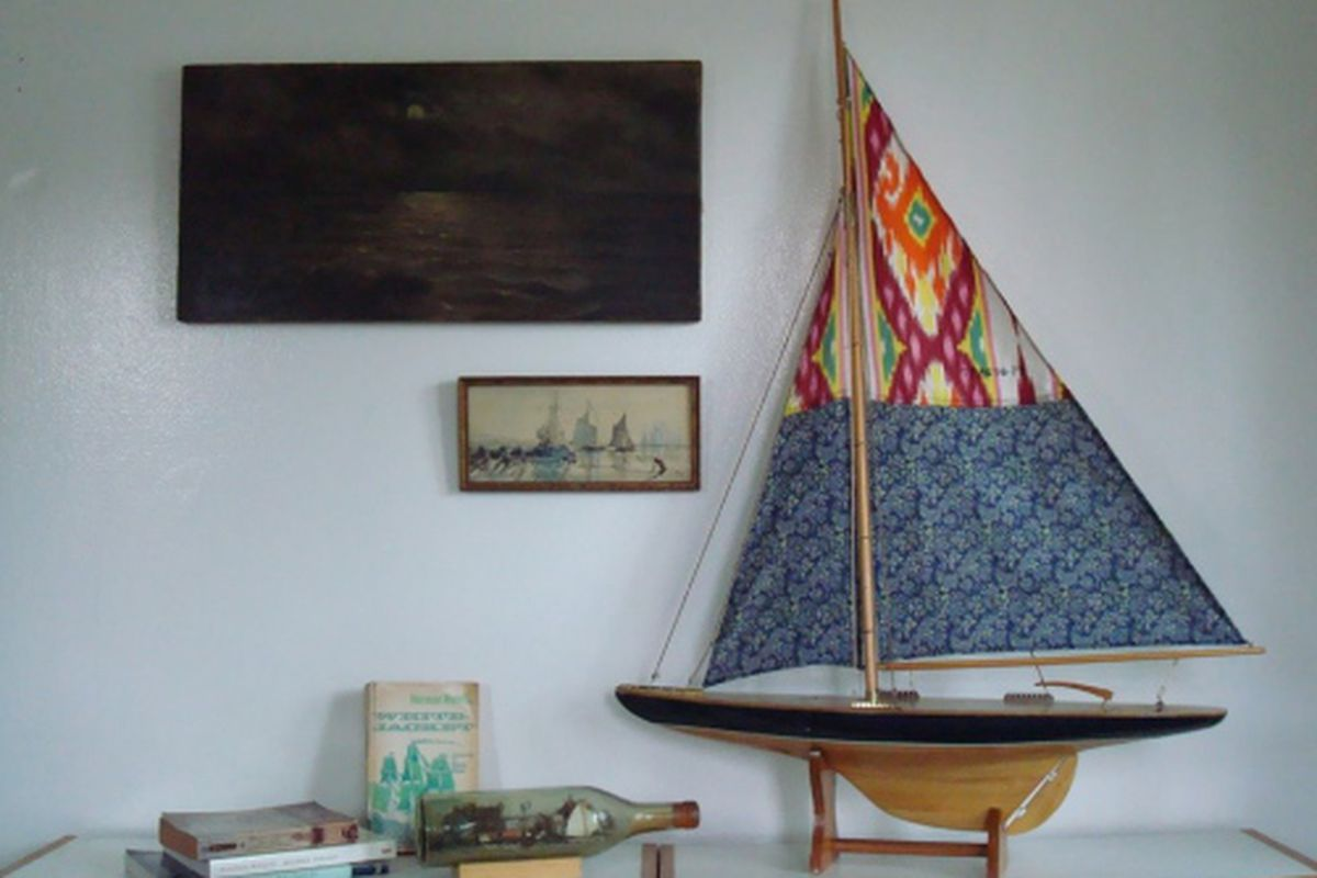 """A pair of Ikat-print pants becomes a sail for a model ship. Image via <a href=""""http://recyclelacma.blogspot.com/"""">Recycle LACMA</a>"""