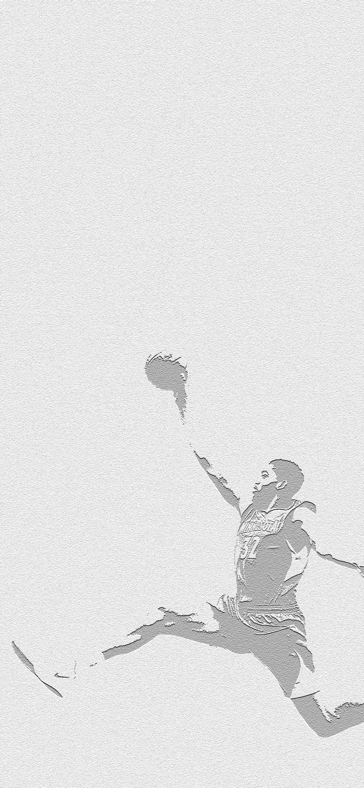 A grainy illustration of Towns dunking a basketball. It's black and white and very artsy fartsy in my opinion