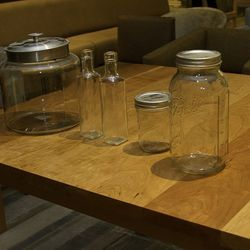 These glass jars will be filled with spices and ingredients representing the cuisines at Bacchanal Buffet.