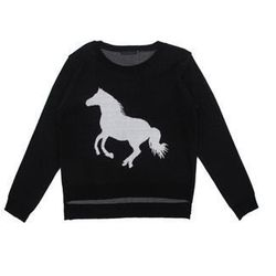 """Lucca Couture <a href=""""http://www.arcadiaboutique.com/ArcadiaBoutique/product_detail.cfm/c/53/product/Horse%20Sweater"""">Horse Sweater</a>, $79 at Arcadia"""