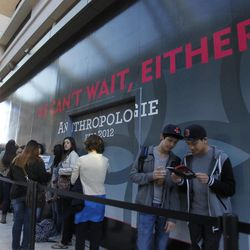 People line up to shop at City Creek Center in Salt Lake City, Thursday, March 22, 2012. At front are Alek Reyes, left and Aron Ibarra.
