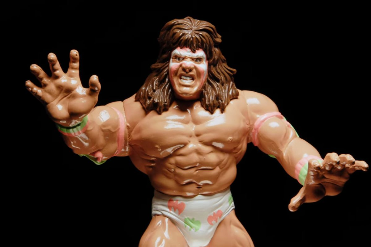 A Macho Man Randy Savage toy, photographed for The Toys That Made Us, on a black background.