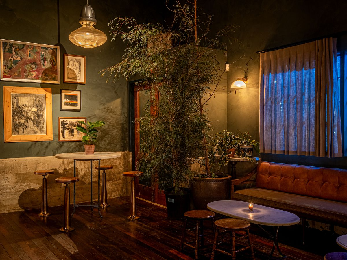 Dark green touches and lots of plants inside of a dark bar at night.