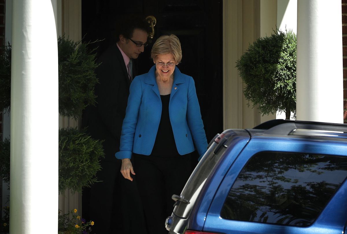 Democratic Presidential Candidate Hillary Clinton Meets With Sen. Elizabeth Warren (D-MA) At Clinton's Home In D.C.