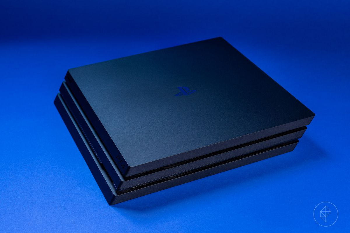 PS4 Pro console on a blue background