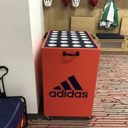 NJIT has three of these stick holders for the team. Each holder has 24 holes, and each hole can fit up to three sticks. Each NJIT player comes in with three sticks to start the season, as well multiple gloves, arm and elbow pads, cleats, and apparel to be used for practice and games.