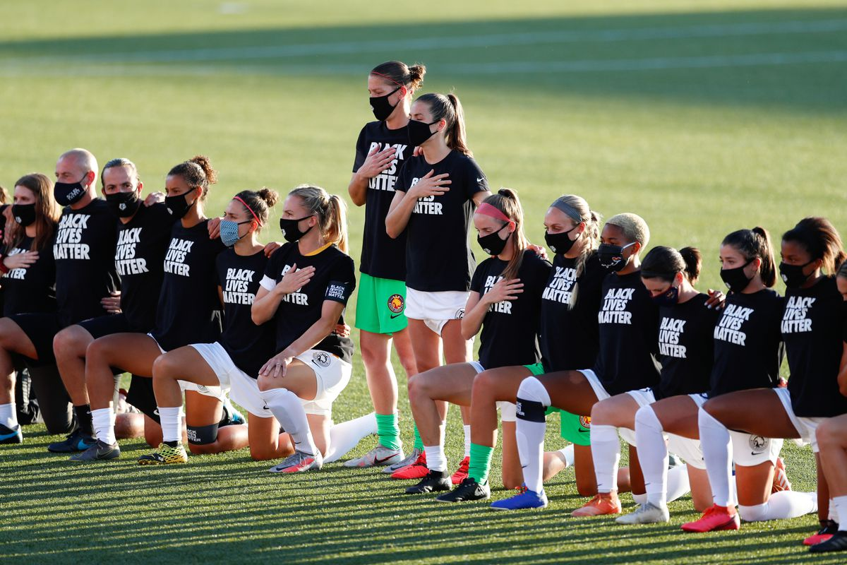 Utah Royals FC players takes a knee in support of the Black Lives Matter movement before the game against the Chicago Red Stars at Zions Bank Stadium in Herriman on Sunday, July 12, 2020.