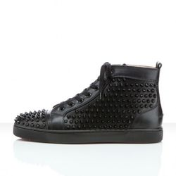 Louis flat in black calf and black spikes, $995