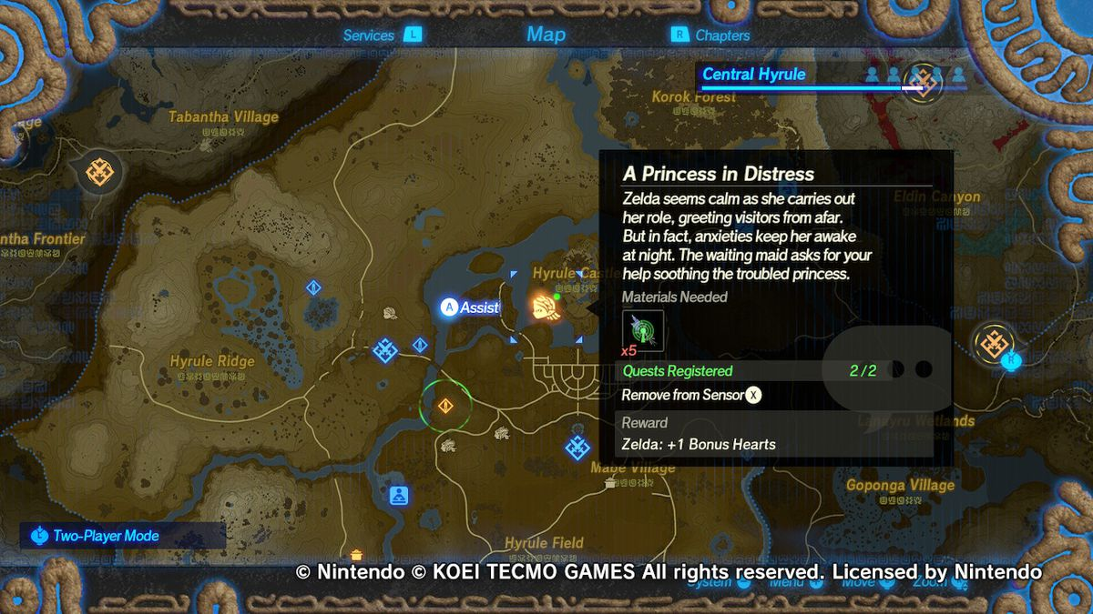 Hyrule Warriors: Age of Calamity map screen