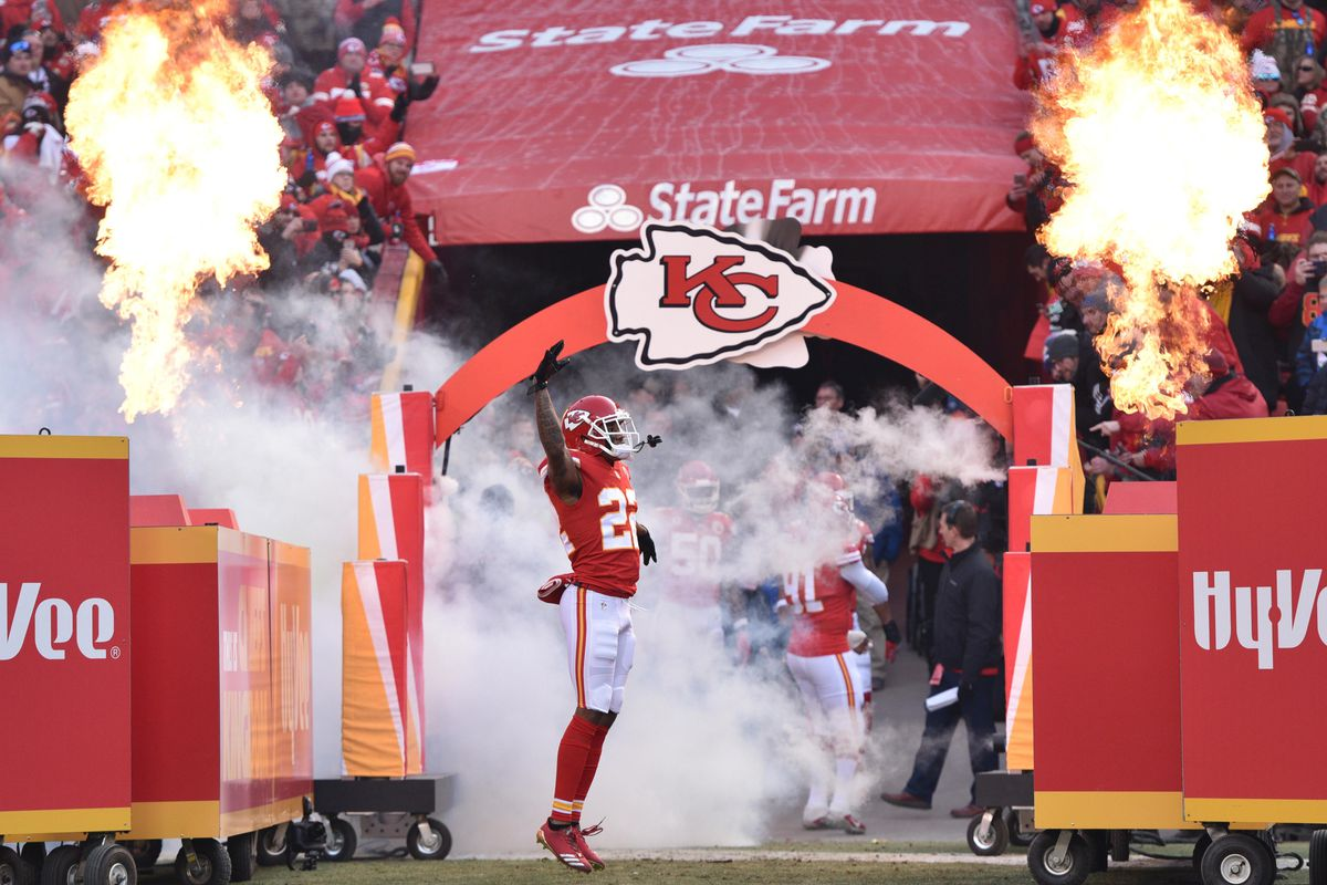 Kansas City Chiefs CB Marcus Peters entering the field before the AFC Wild Card game against the Tennessee Titans