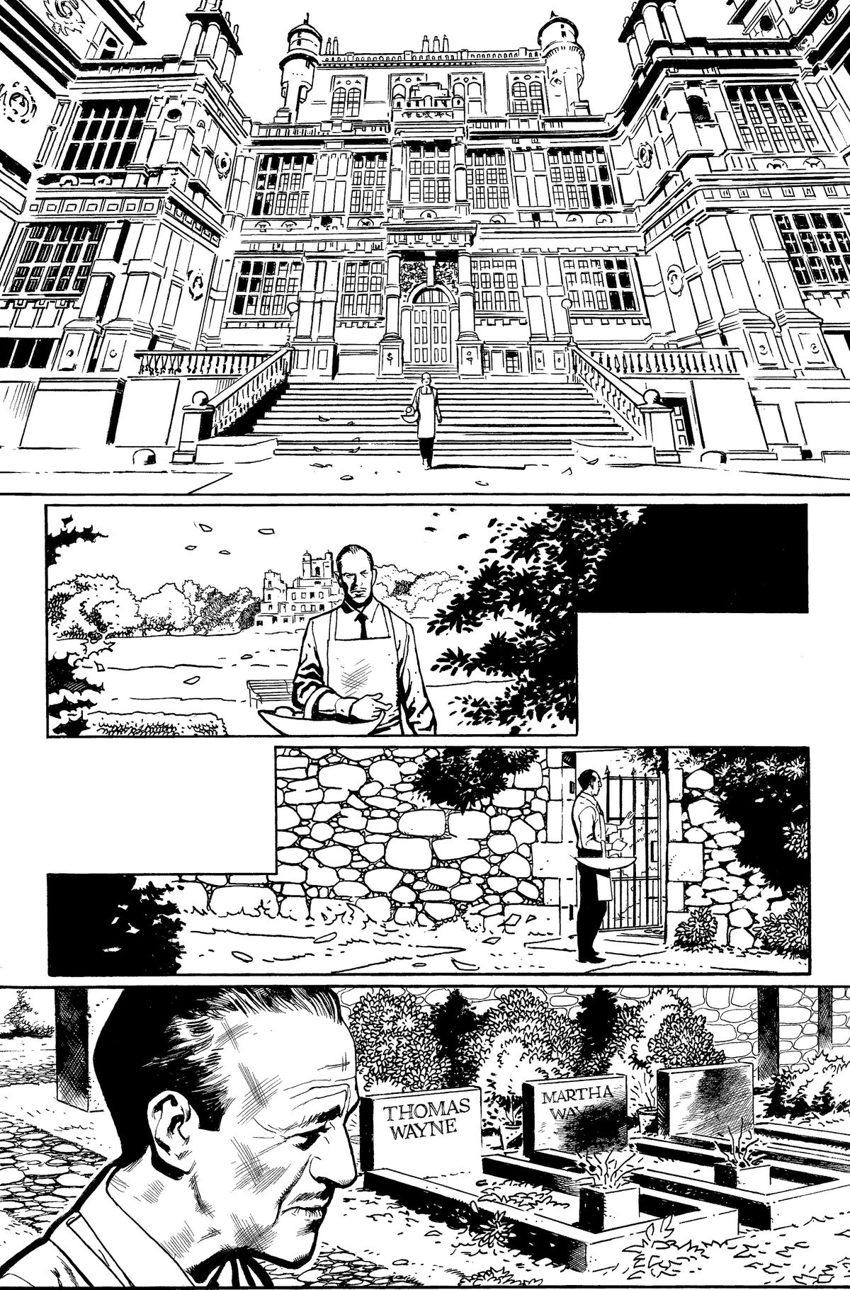 Alfred walks out of Wayne Manor and to the Wayne grave plot on the grounds, in unfinished art from The Batman's Grave, DC Comics (2019).