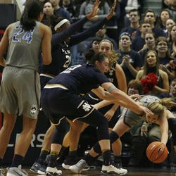 UConn's Katie Lou Samuelson (33) fights with Notre Dame's Jessica Shepard (23) for a rebound during the Notre Dame Fighting Irish vs UConn Huskies women's college basketball game in the Women's Jimmy V Classic at the XL Center in Hartford, CT on December 3, 2017.