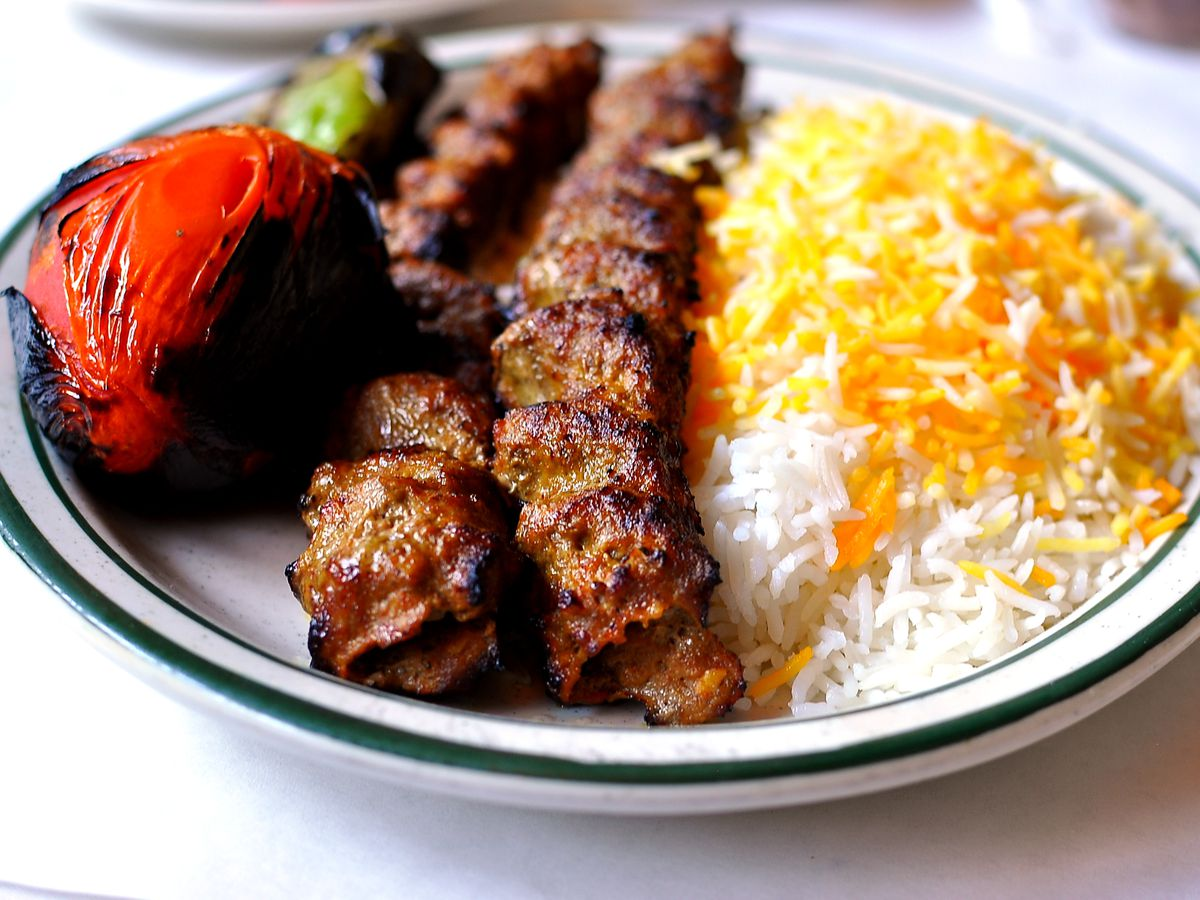Grilled meat with rice at Raffi's Place.