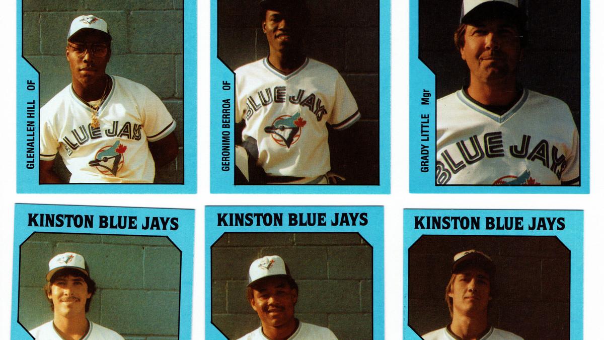 The 1985 Kinston Blue Jays baseball card set from TCMA Ltd. Depicted are the baseball cards of Glenallen Hill, Geronimo Berroa, Grady Little, Tony Castillo, Jose Mesa, and Pat Borders.