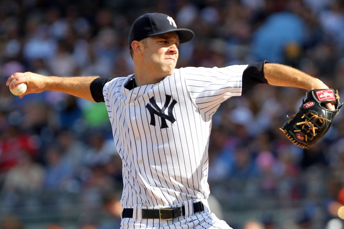 Aug 18, 2012; Bronx, NY, USA;  New York Yankees starting pitcher David Phelps (41) pitches during the second inning against the Boston Red Sox at Yankee Stadium. Anthony Gruppuso-US PRESSWIRE