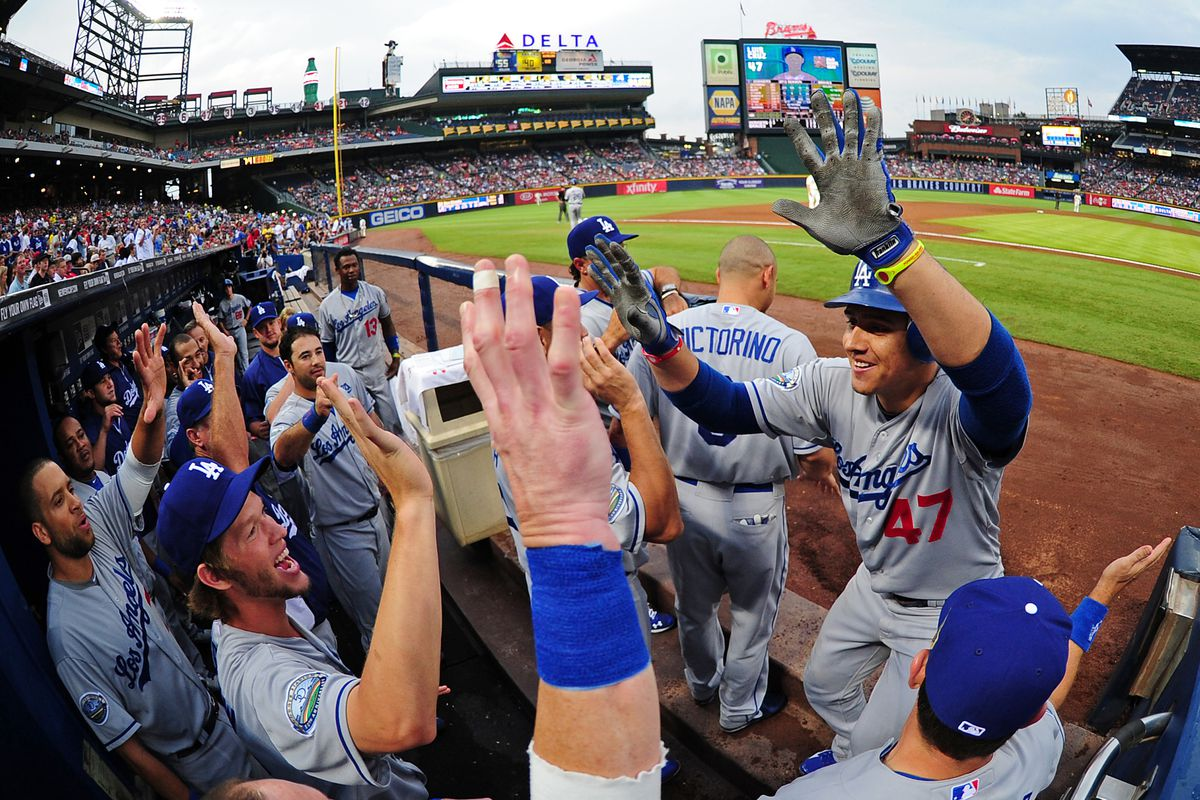 ATLANTA, GA - AUGUST 18: Luis Cruz had another good night for the Dodgers(Photo by Scott Cunningham/Getty Images)