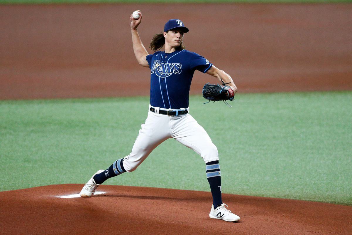 Tampa Bay Rays starting pitcher Tyler Glasnow throws a picot in the first inning agains the Kansas City Royals at Tropicana Field.