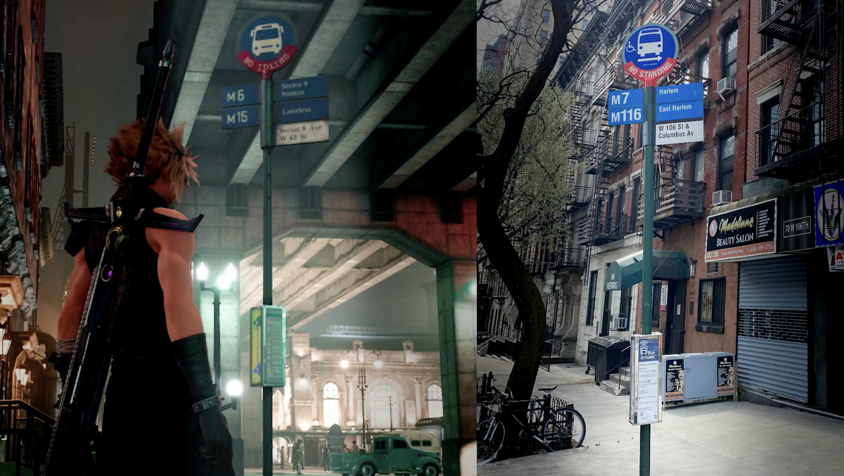 A side-by-side image showing Midgar and New York City's bus signs. Both are round blue signs depicting a white bus, with a red band following the lower curve of the sign. Both show bus numbers on the left, and bus route names on the right, with a white sign with the name of the street below.