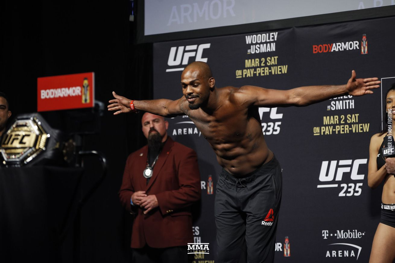 Jon Jones (pictured) defends his light heavyweight title against Thiago Santos in the main event of UFC 239 on July 6 in Las Vegas