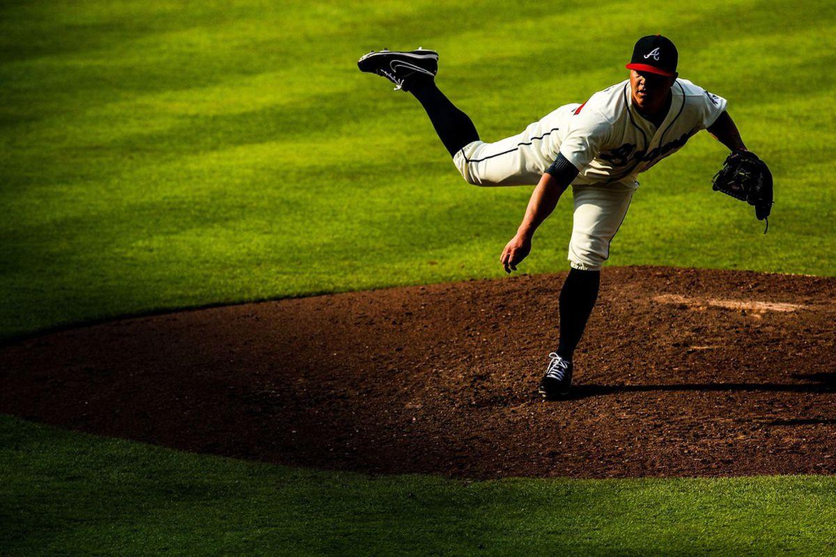 June 30, 2012; Atlanta, GA, USA; Atlanta Braves relief pitcher Kris Medlen (54) pitches in the sixth inning against the Washington Nationals at Turner Field. Mandatory Credit: Daniel Shirey-US PRESSWIRE
