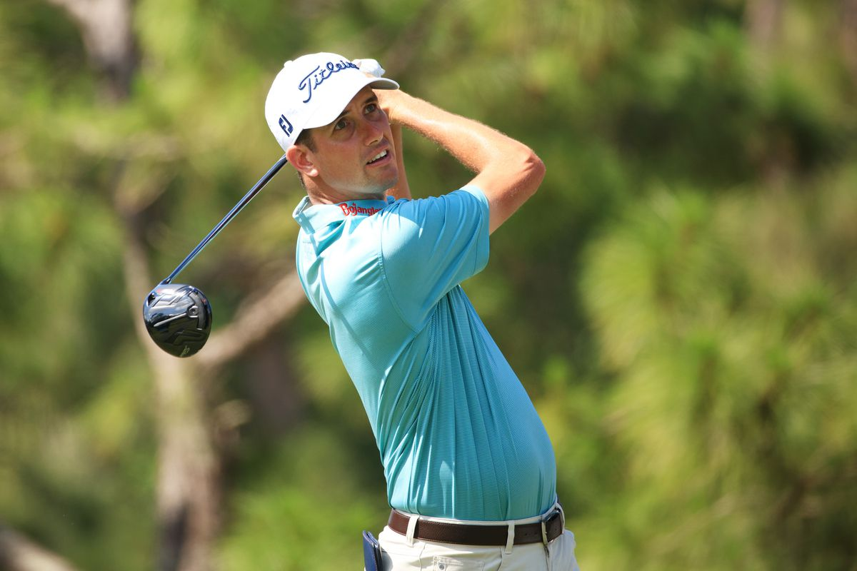 Chesson Hadley of the United States plays his shot from the sixth tee during the second round of the Valspar Championship on the Copperhead Course at Innisbrook Resort on April 30, 2021 in Palm Harbor, Florida.