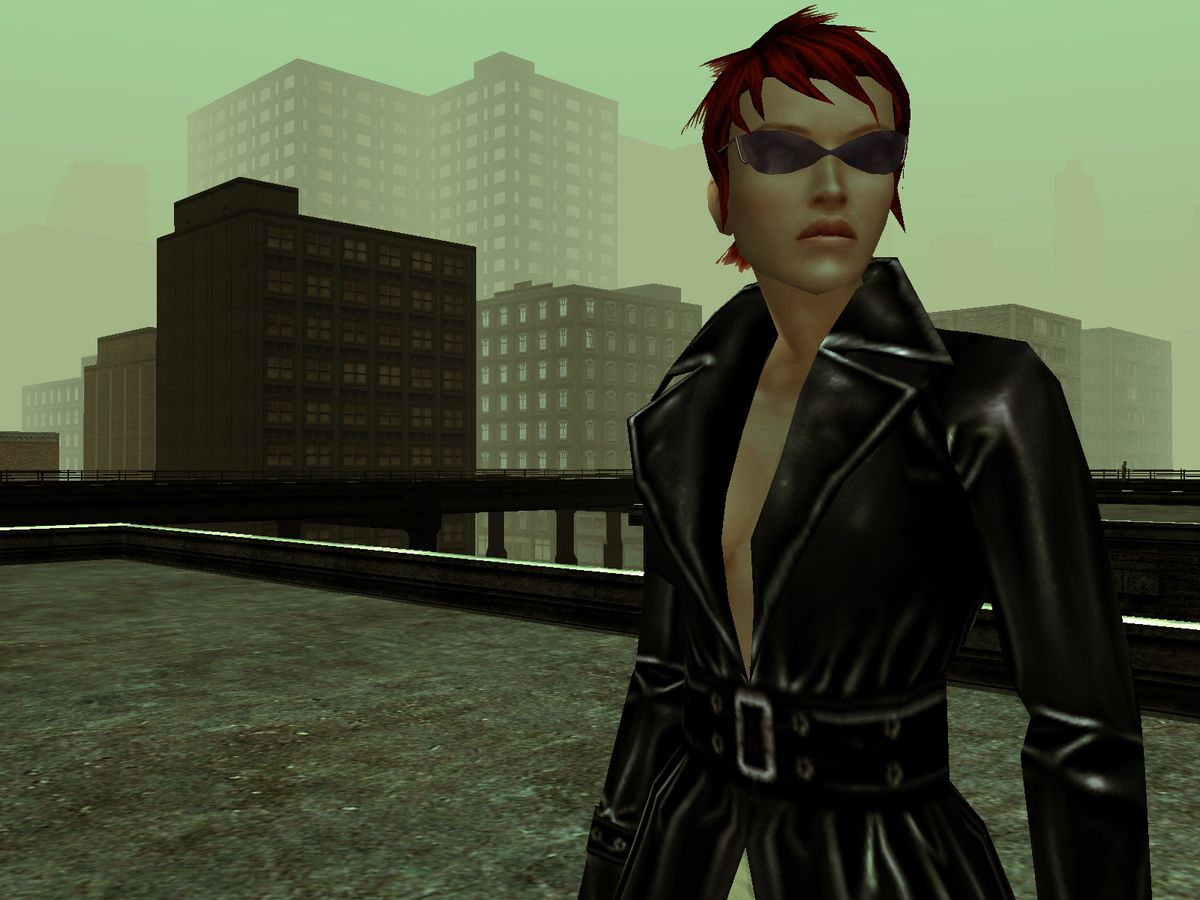 A red-haired player avatar in The Matrix Online