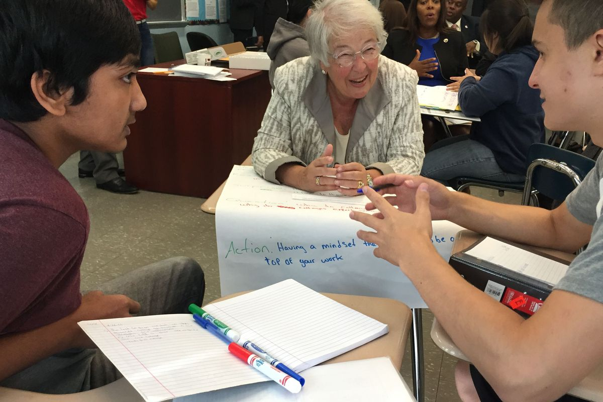 New York City schools Chancellor Carmen Fariña talks with students about their college plans.
