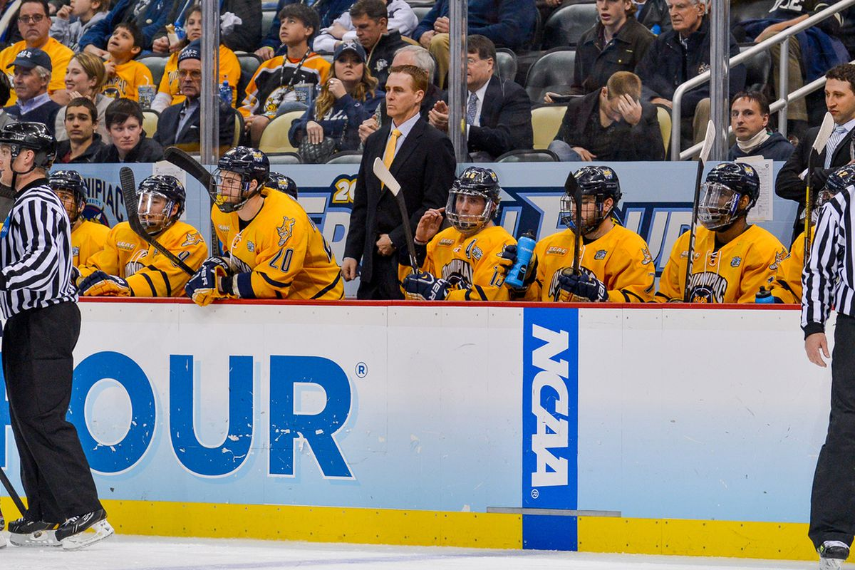 Quinnipiac head coach Rand Pecknold on the bench in the Frozen Four.