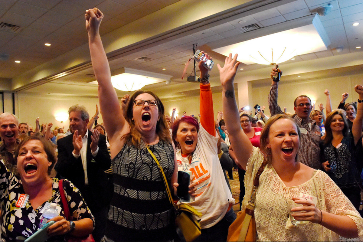 Recall supporters react as the news was announced that the embattled school board majority conceded.