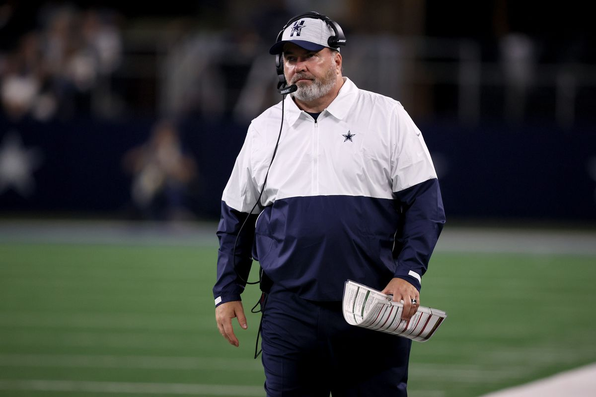 Head coach Mike McCarthy of the Dallas Cowboys reacts as the Dallas Cowboys take on the Houston Texans in the second half of a preseason NFL game at AT&T Stadium on August 21, 2021 in Arlington, Texas.