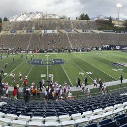 The Utah State Aggies and the Fresno State Bulldogs play without a crowd due to COVID-19 in Logan on Saturday, Nov. 14, 2020.