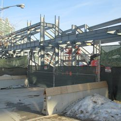 Left-field bleachers, seen from the northwest corner of Waveland and Kenmore -