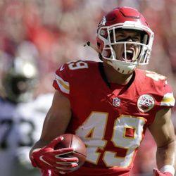 Dan Sorensen returns an interception 48 yards for a touchdown.