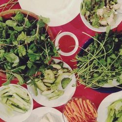 Arrived early for a friend's party. Just in time to help roll veggies summer rolls. Loved adding tons of fresh basil, cilantro and mint to mine.