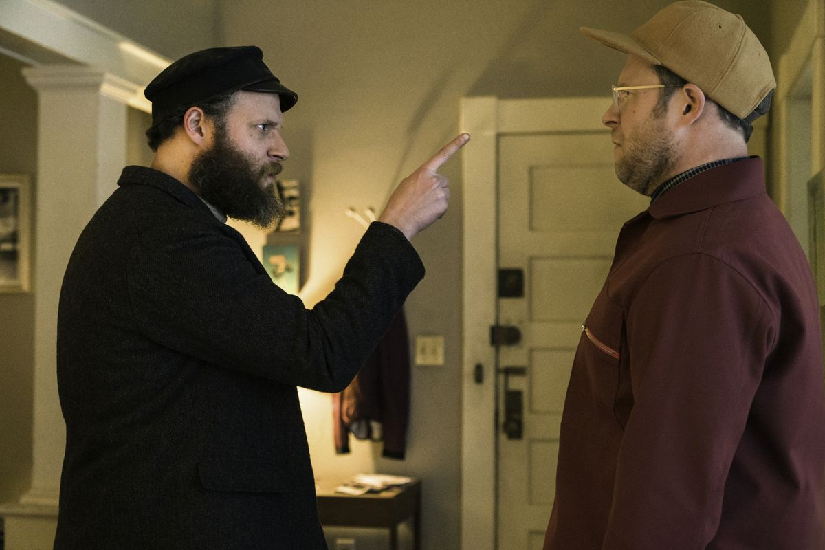 Seth Rogen from 1919 scolds Seth Rogen from 2020 in HBO Max's An American Pickle.