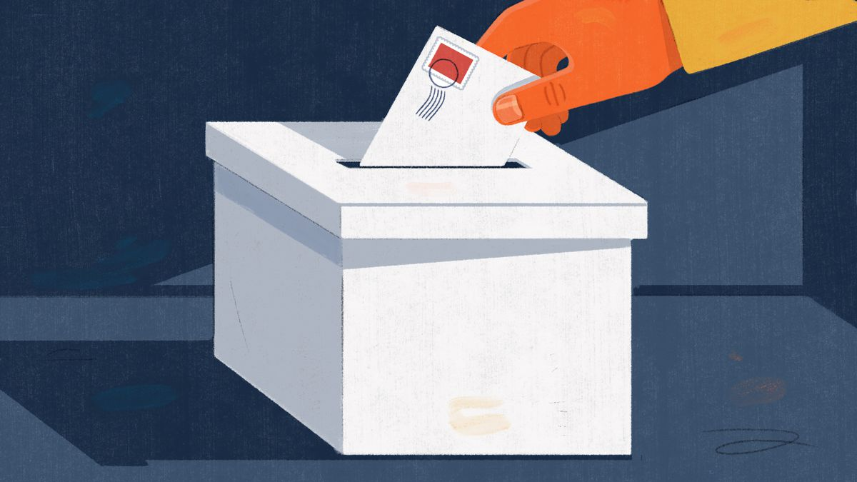 Illustration of a person's hand putting a stamped envelope into a ballot box.